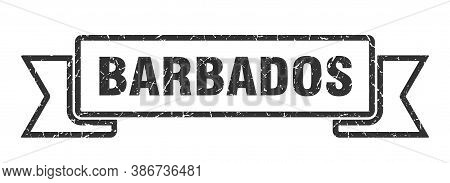 Barbados Ribbon. Black Barbados Grunge Band Sign