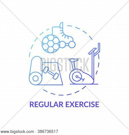 Regular Exercise Blue Gradient Concept Icon. Workout Routine. Cardio Training In Gym. Body Care For