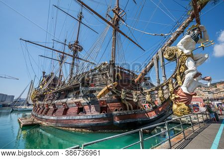 Genoa, Italy. August 23, 2020: The Neptune Is A Ship Replica Of A 17th-century Spanish Galleon Desig