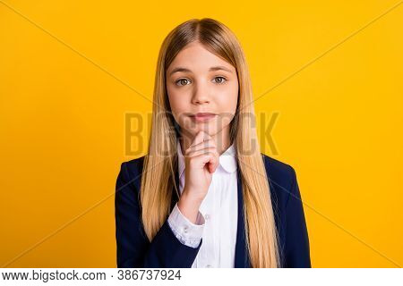 Close-up Portrait Of Her She Nice Attractive Pensive Brainy Schoolchild Nerd Geek Creating Strategy