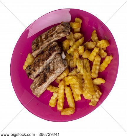 Grilled Pork Ribs With French Fries On Pink Plate. Pork Ribs With French Fries On A White Background