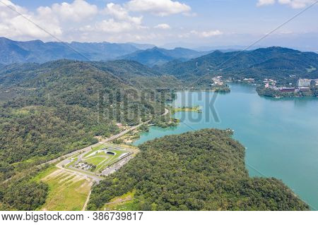 aerial landscape with famous Xiangshan Visitor Center at Sun Moon Lake, Nantou, Taiwan