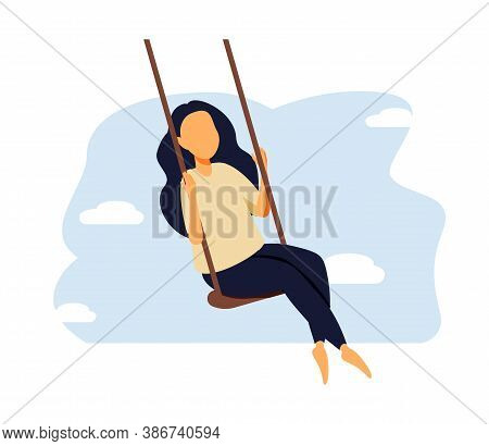 Love And Time For Yourself. Happy Woman, Self Care, Slow Life Concept. Cute Girl With Long Hair Sitt