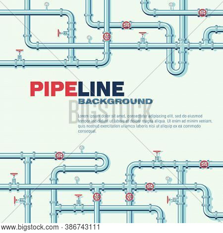 Pipeline Square Vector Background With Space For Text. Branching And Intertwining Pipes With Taps An