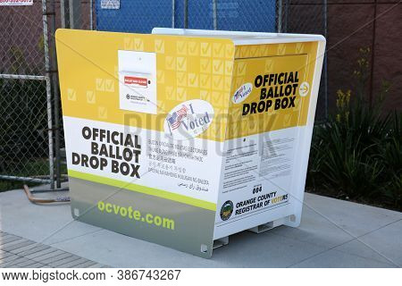Santa Ana, California / USA - September 23-2020: OFFICIAL BALLOT DROP BOX. California Official Ballot Drop Box placed ready to accept Voting Ballots for the upcoming election. Editorial Use Only.