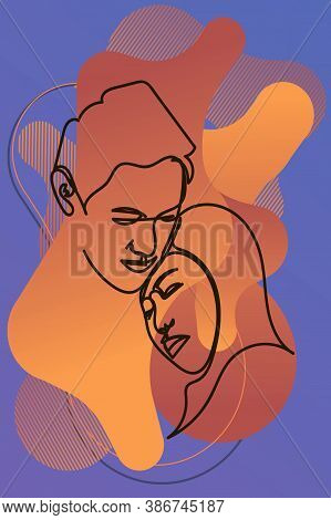 Abstract Male And Female Portraits Wall Art, Abstract Modern Painting Print. Contemporary Continuous