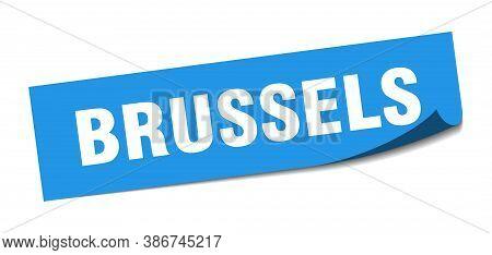 Brussels Sticker. Brussels Blue Square Peeler Sign