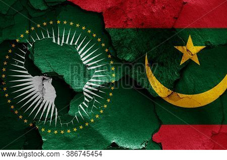 Flags Of African Union And Mauritania Painted On Cracked Wall
