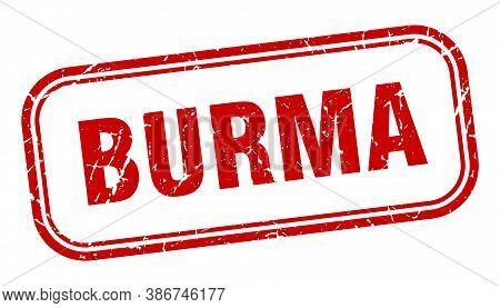 Burma Stamp. Burma Red Grunge Isolated Sign