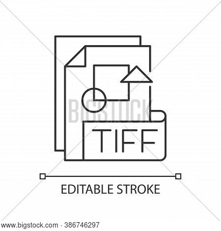 Tiff File Pixel Perfect Linear Icon. Tagged Image File Format. Tif. Professional Photography. Thin L
