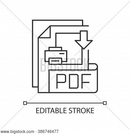 Pdf File Pixel Perfect Linear Icon. Portable Document Format. File Extension. Graphics. Thin Line Cu