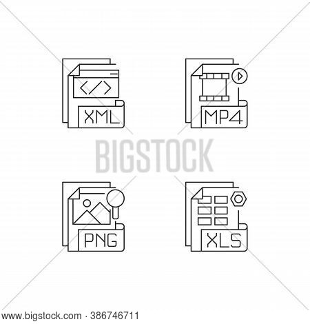 File Types Pixel Perfect Linear Icons Set. Xml. Mp4. Png. Xls. Spreadsheet, Video, Raster Image File