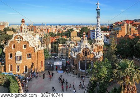 Barcelona, Spain - May 16, 2017: This Is A View From A Height Of The Pavilions Of Park Guel At The E