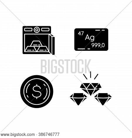Precious Metals Gems Black Glyph Icons Set On White Space. Bars In Safe. Bank Deposit For Financial