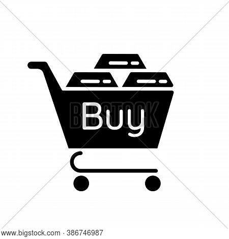 Precious Metals Purchase Black Glyph Icon. Buy Golden And Silver Bars. Platinum Bullion For Sale. Bu