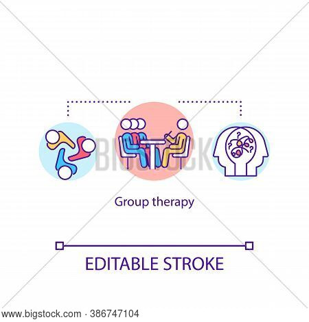 Group Therapy Concept Icon. Collective Psychoanalysis, Support Groups Idea Thin Line Illustration. P