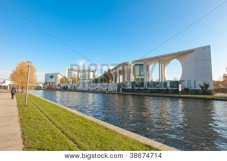 River Spree and bundeskanzleramt in Berlin, Germany