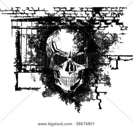 Vector scary Halloween grunge skull with bricks