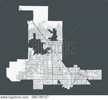 Las Vegas Map. Detailed Map Of Las Vegas City Administrative Area. Cityscape Panorama. Royalty Free