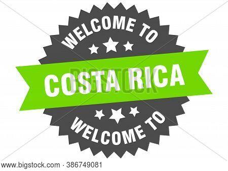 Costa Rica Sign. Welcome To Costa Rica Green Sticker