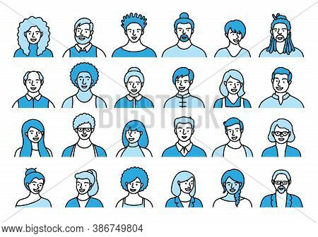 Contour Set Of Persons, Avatars, People Heads Of Different Ethnicity And Age In Flat Style. Multi Na