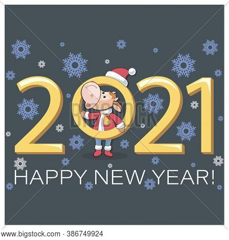 Cute Calf. 2021. Bull Symbol Of New Year. Happy New Year. Little Calf Dressed As Santa Claus. Vector