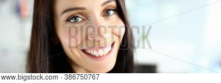 Close-up Of Cheerful Smiling Female Posing On Camera. Macro Shot Of Brunette Young Woman With Beauti