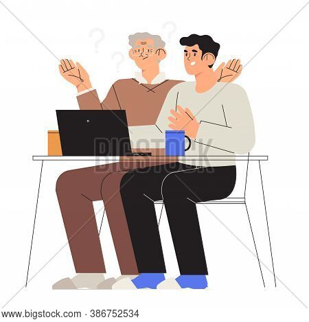 Son, Grandson Help Or Teach His Dad Or Drandfather To Work With Computer Or Laptop. Senior People St