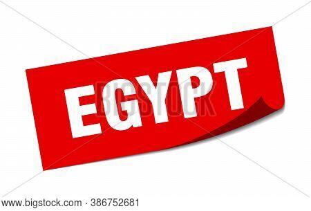 Egypt Sticker. Egypt Red Square Peeler Sign