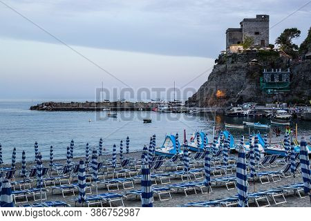 Monterosso Al Mare, Italy - July 8, 2017: View Of Monterosso Al Mare Beach And Port At Sunset