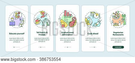 Becoming A Vegetarian Tips Onboarding Mobile App Page Screen With Concepts. Vegeterian Advices Walkt