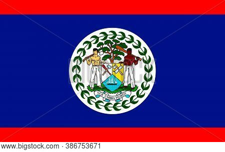 Flag Belize Flat Icon. State Insignia Of The Nation In Flat Style On The Entire Page. National Symbo