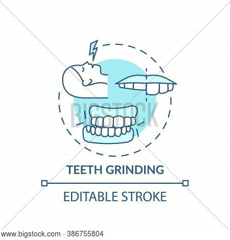 Teeth Grinding Turquoise Concept Icon. Dental Problem. Orthodontic Care. Healthcare Issue. Sleep Dis