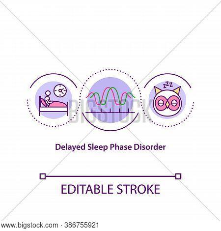 Delayed Sleep Phase Disorder Concept Icon. Disrupted Circadian Rhythm, Biological Clock Idea Thin Li