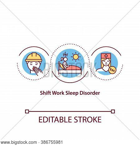 Shift Work Sleep Disorder Concept Icon. Chronic Insomnia, Sleeplessness Idea Thin Line Illustration.
