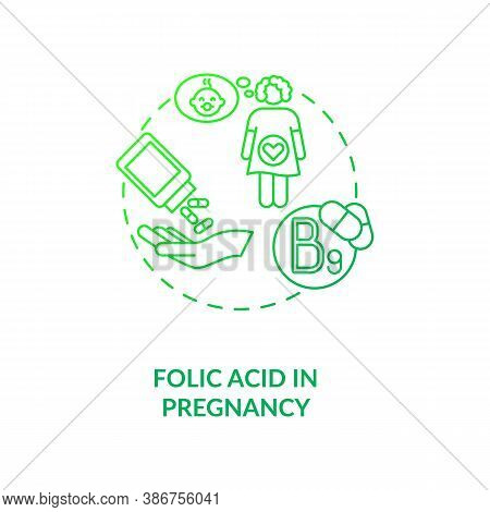 Folic Acid In Pregnancy Concept Icon. Needed Supplement Idea Thin Line Illustration. Vitamin B9. Ris