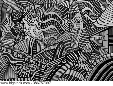 Black And Gray Abstract Geometric Shapes From Triangles, Ellipses With Many Patterns, Doodle Psyched