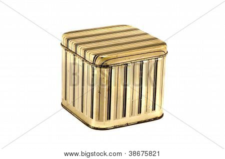 Vintage Metal Box Kitchen Box For Food On White
