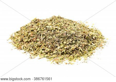 Dried Oregano Seasoning Isolated On White Background. High Resolution Photo. Full Depth Of Field.