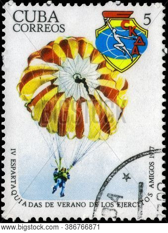 Saint Petersburg, Russia - May 31, 2020: Postage Stamp Issued In The Cuba The Image Of The Parachuti