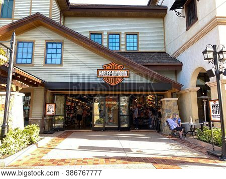 The Harley Davidson Motorcycle Clothing Storefront At An Outdoor Mall In Orlando, Florida
