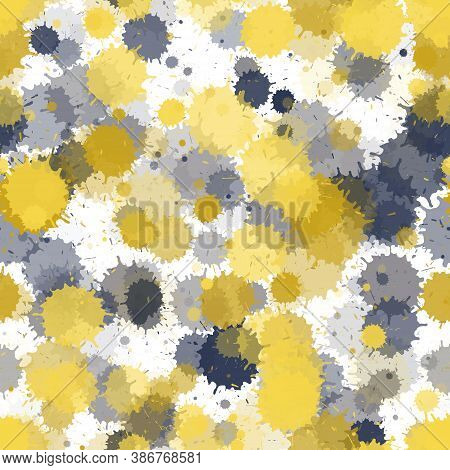 Paint Transparent Stains Vector Seamless Grunge Background. Futuristic Ink Splatter, Spray Blots, Di