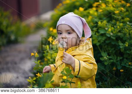 Photo Of A Happy Child Girl Wearing A Yellow Jacket And White Hat Playing In A Meadow, Flowers Surro