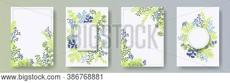 Cute Herb Twigs, Tree Branches, Leaves Floral Invitation Cards Set. Bouquet Wreath Vintage Cards Des