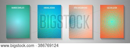 Simple Circle Screen Tone Gradation Cover Templates Vector Collection. School Booklet Faded Screen T