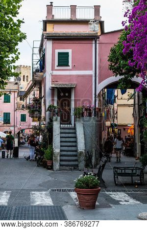 Monterosso Al Mare, Italy - July 8, 2017: View Of Tourists Walking In Monterosso Al Mare Old Town