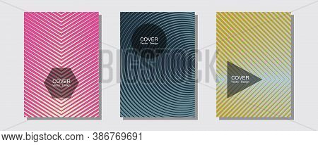 Brochure Covers, Posters, Banners Vector Templates. Simple Book Covers. Halftone Lines Music Poster
