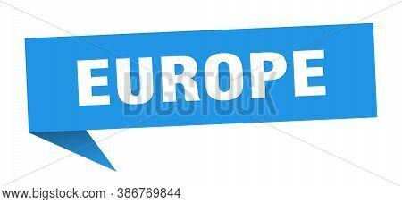 Europe Sticker. Blue Europe Signpost Pointer Sign