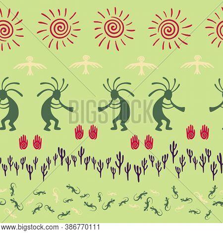 Southwestern Native American Vector Ethnic Tribal Motifs Seamless Pattern. Aborigine Design With Gec