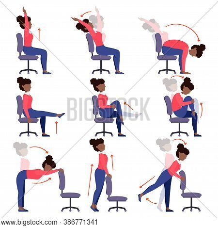 Instructions Black Girl Doing Office Chair Yoga. Set Of Women Workout For Healthy Back, Neck, Arms,